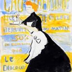 Edouard Morerod, peintre: Projet d'affiche pour le Cacao Bensdorp, encre de Chine, gouache et crayon.