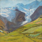 Edouard Morerod, peintre: Paysage alpin, huile sur toile, 1905.