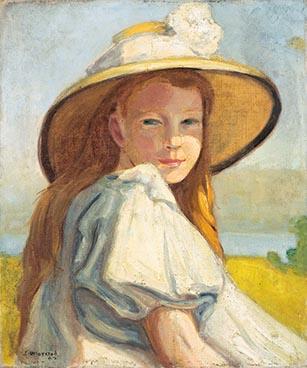 Edouard Morerod, peintre: Fillette au chapeau, huile sur toile, 1907.