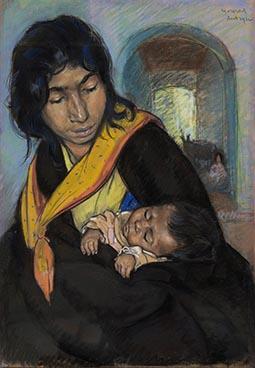Jeune gitane et enfant, 1912, Edouard Morerod, peintre
