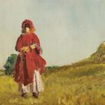 Edouard Morerod, peintre: Jeune moujik dans le paysage, huile sur carton, 1901.