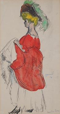Edouard Morerod, peintre: Moulin Rouge, fusain et aquarelle, 1907.