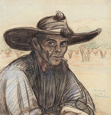 Paysan au chapeau, Edouard Morerod, peintre