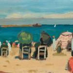 Edouard Morerod, peintre: Bord de mer, St-Jean-de-Luze, huile sur carton, 1918.