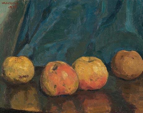Edouard Morerod, peintre: nature morte aux pommes, huile sur carton.