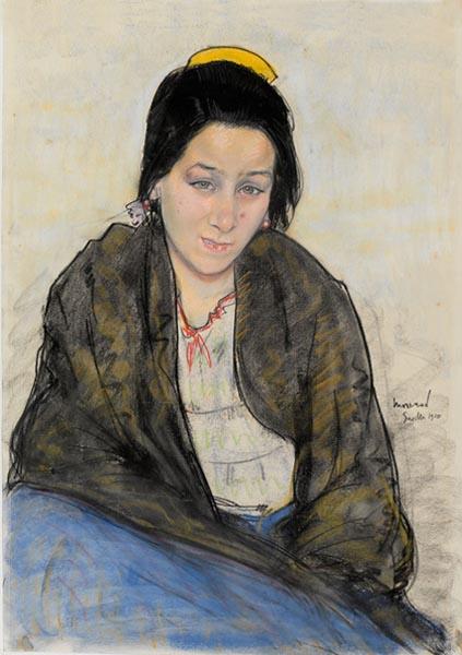 Portrait de jeune fille (Pastora), pastel acquis par le Musée national des beaux-arts (centre Pompidou) en 1931.
