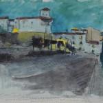 Edouard Morerod, peintre: Guadix, étude de nuit, dessin aquarellé.