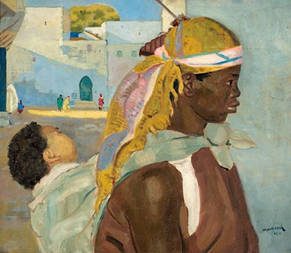 Edouard Morerod, peintre: Soudanaise et son enfant, huile sur toile, 1910.