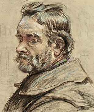 Tête d'homme barbu, 1907, Edouard Morerod, peintre