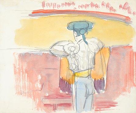 Edouard Morerod - Toréador regardant l'arène. Dessin aquarellé