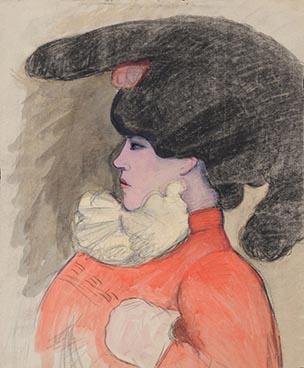 Edouard Morerod, peintre: Jeune femme à la coiffe, pastel, fusain et rehauts de gouache