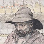 Edouard Morerod, peintre: Paysan breton, dessin aquarellé, 1904.